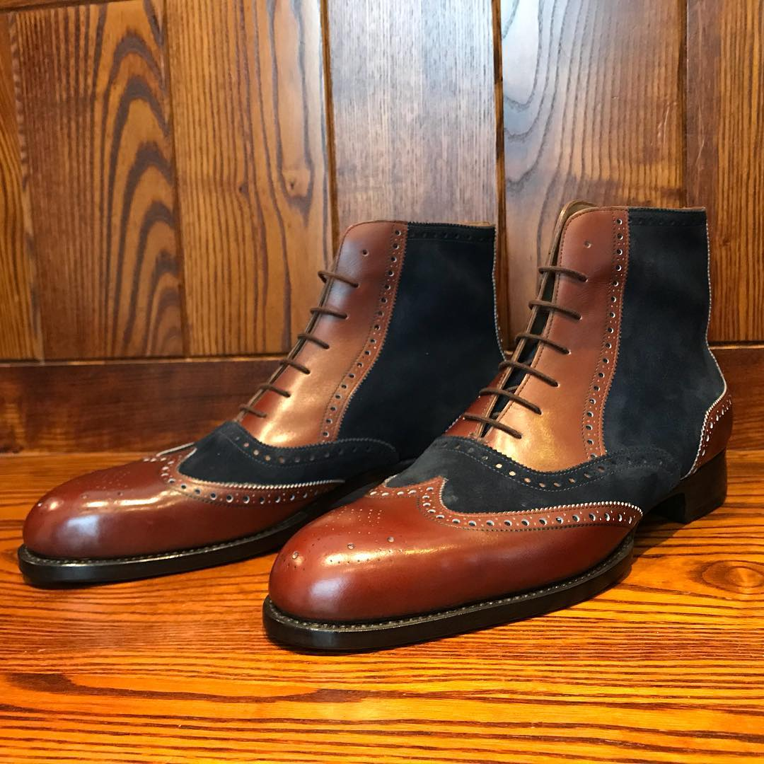 bespoke brown boots with dark blue