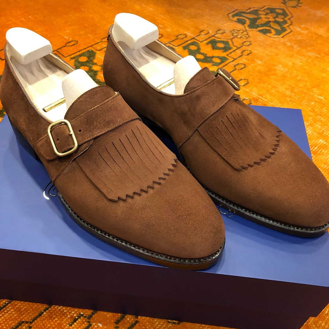 monk strap frilled brown shoes